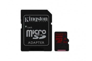 sd kartice KINGSTON 64 GB MICROSDXC CLASS 10, FLASH CARD W ADAPTER, KINGSON