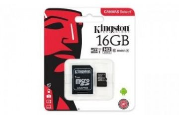 sd kartice KINGSTON 16GB MICRO SD-ADAPTER, SDHC KINGSTON CANVAS SELECT, 80MB-10MBs, UHS-I Speed Class 1 (U1), 139223
